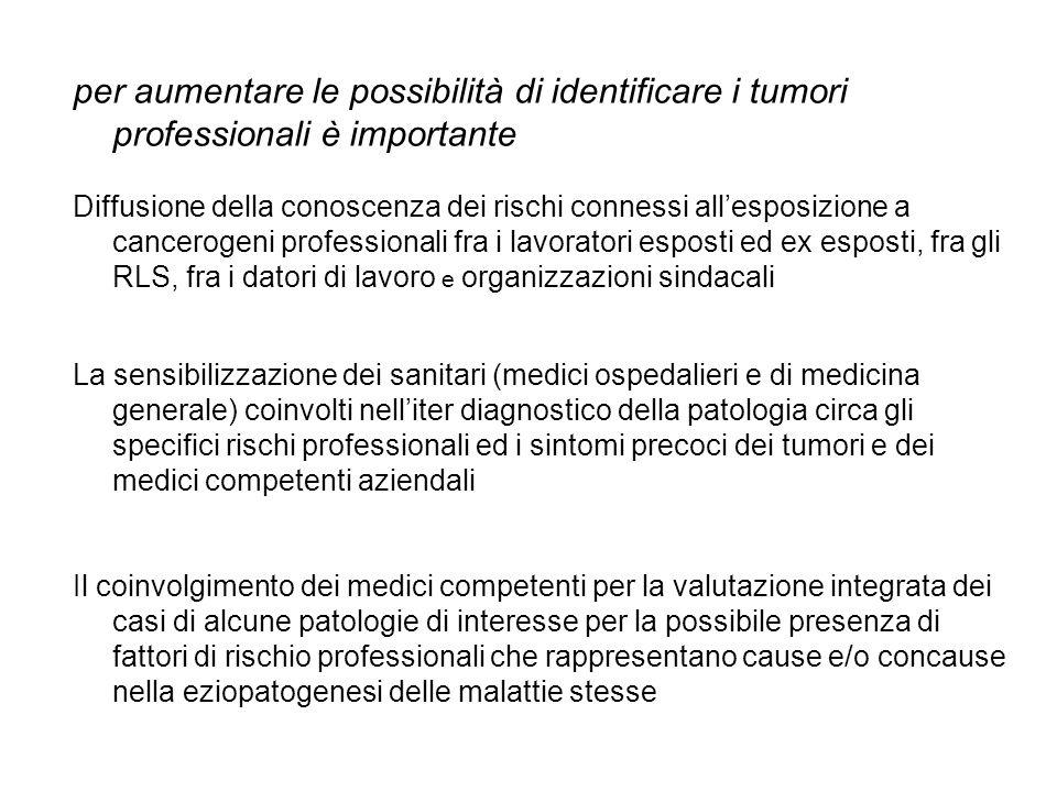 per aumentare le possibilità di identificare i tumori professionali è importante Diffusione della conoscenza dei rischi connessi allesposizione a canc