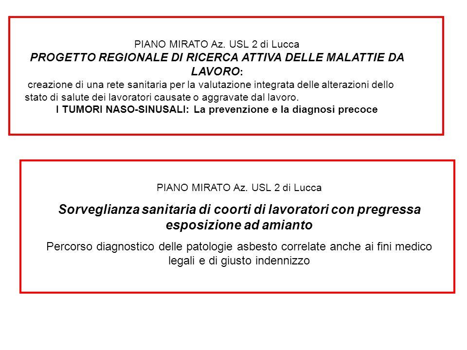PIANO MIRATO Az. USL 2 di Lucca PROGETTO REGIONALE DI RICERCA ATTIVA DELLE MALATTIE DA LAVORO : creazione di una rete sanitaria per la valutazione int