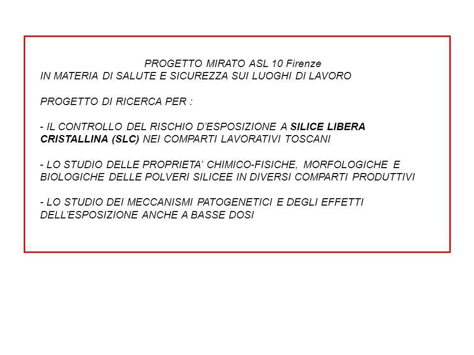 PROGETTO MIRATO ASL 10 Firenze IN MATERIA DI SALUTE E SICUREZZA SUI LUOGHI DI LAVORO PROGETTO DI RICERCA PER : - IL CONTROLLO DEL RISCHIO DESPOSIZIONE