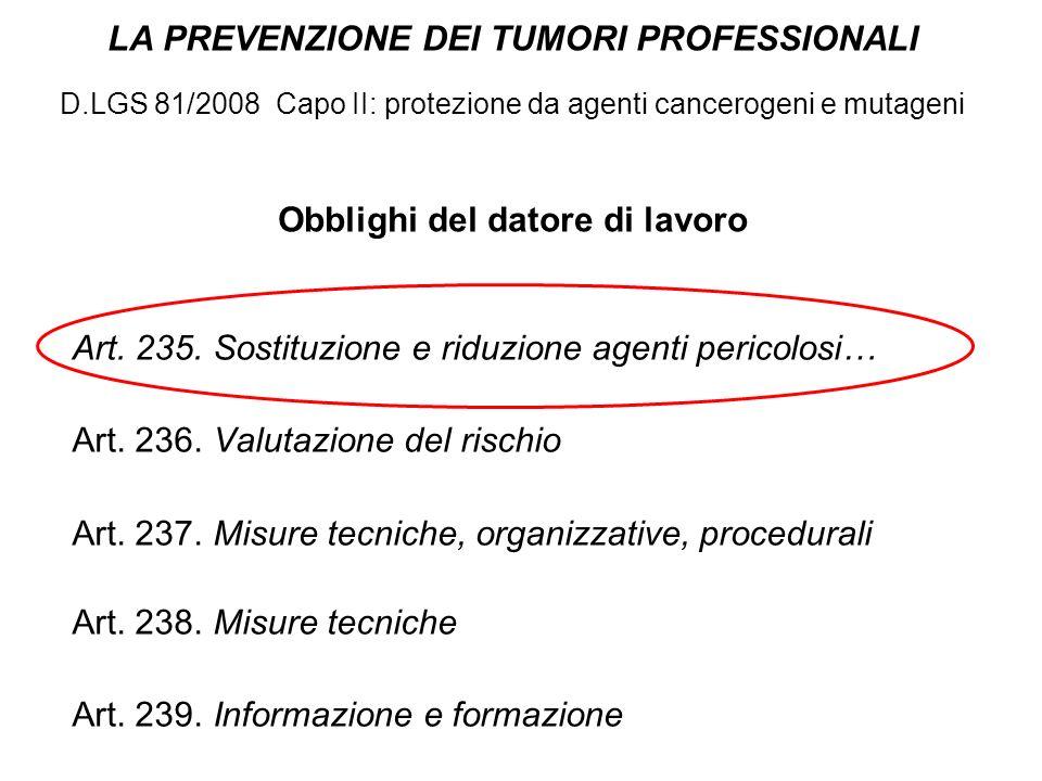 LA PREVENZIONE DEI TUMORI PROFESSIONALI D.LGS 81/2008 Capo II: protezione da agenti cancerogeni e mutageni Obblighi del datore di lavoro Art. 235. Sos