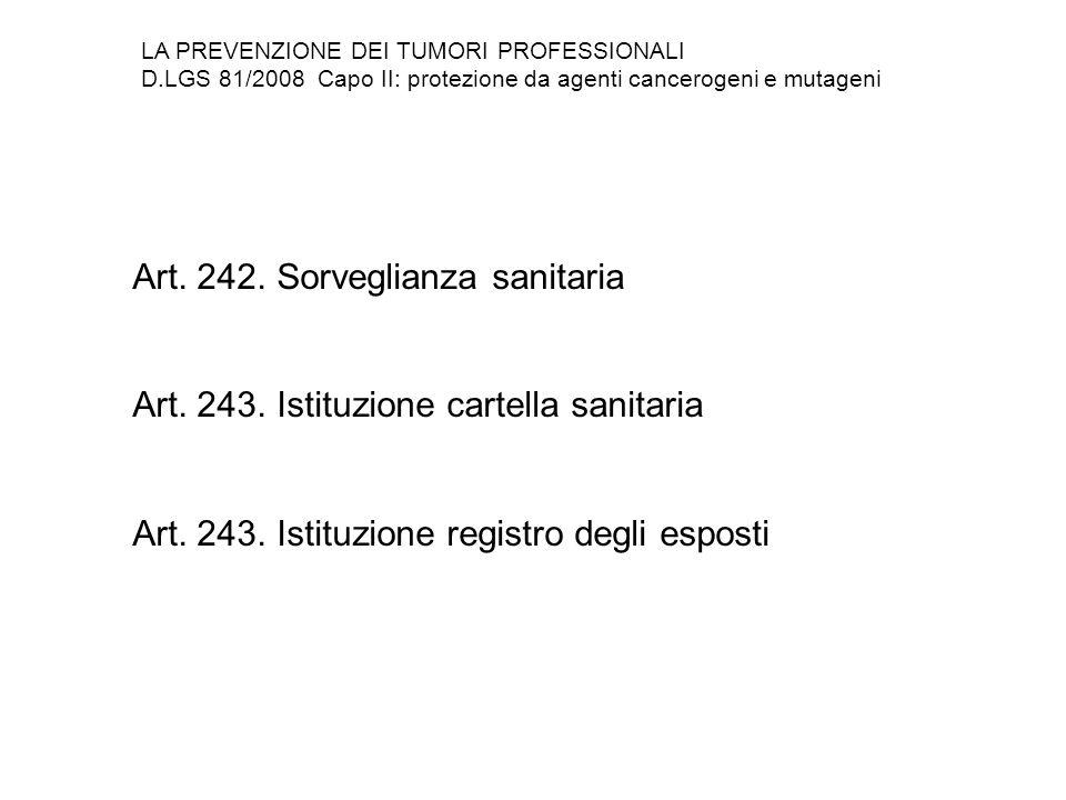 Art. 242. Sorveglianza sanitaria Art. 243. Istituzione cartella sanitaria Art. 243. Istituzione registro degli esposti LA PREVENZIONE DEI TUMORI PROFE