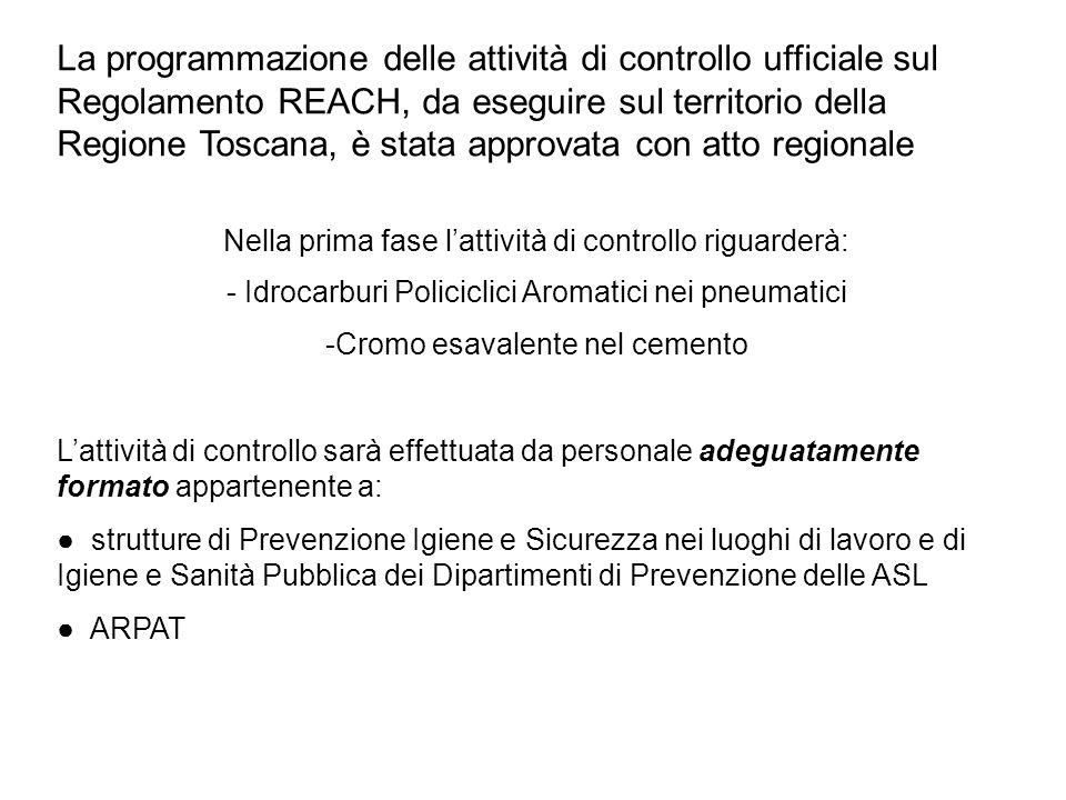 La programmazione delle attività di controllo ufficiale sul Regolamento REACH, da eseguire sul territorio della Regione Toscana, è stata approvata con