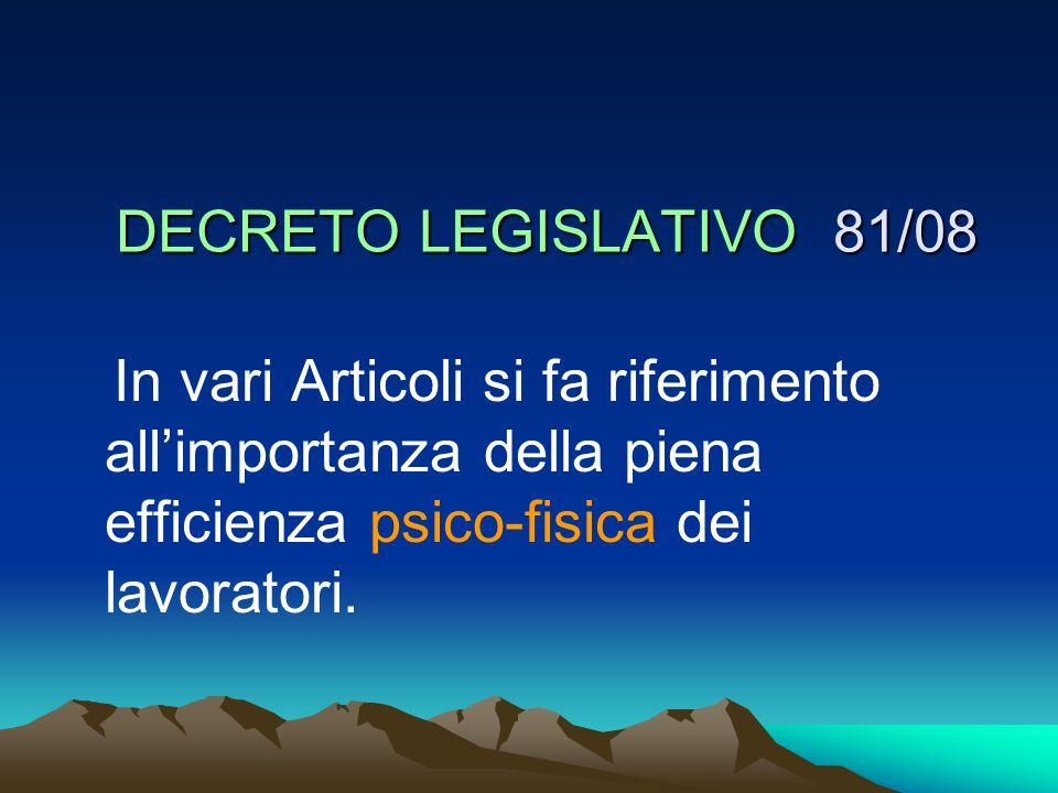 DECRETO LEGISLATIVO 81/08 In vari Articoli si fa riferimento allimportanza della piena efficienza psico-fisica dei lavoratori.