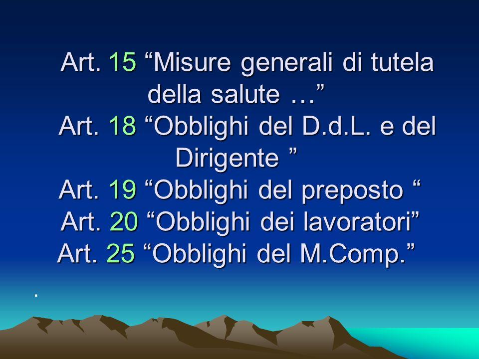 Art. 15 Misure generali di tutela della salute … Art.
