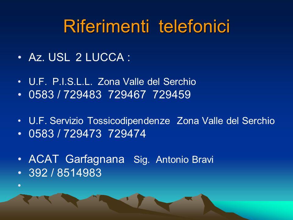 Riferimenti telefonici Az. USL 2 LUCCA : U.F. P.I.S.L.L.