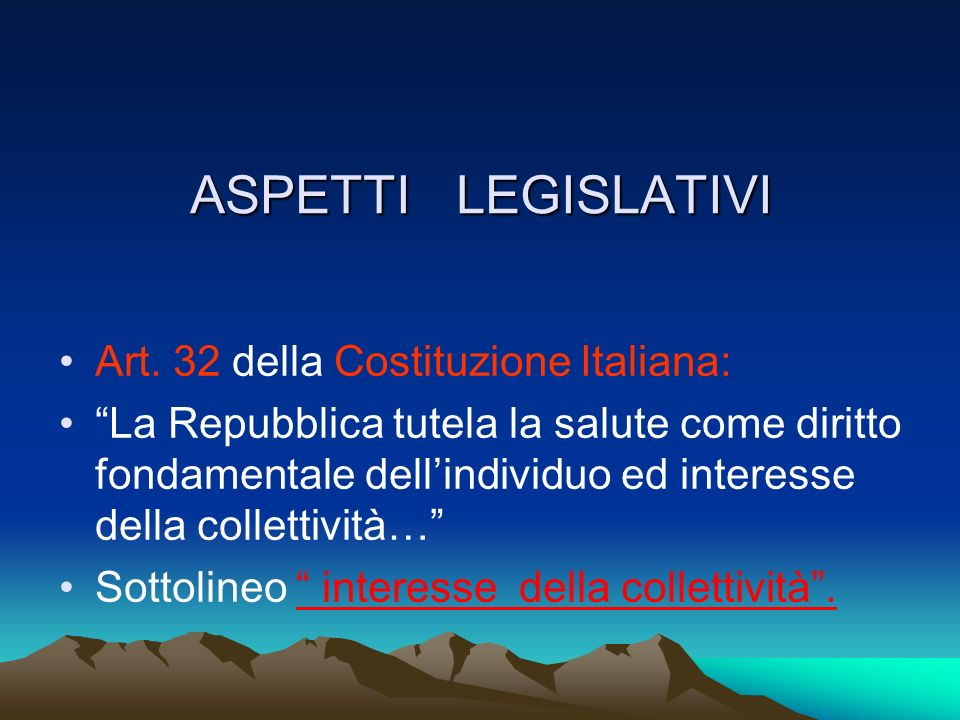 ASPETTI LEGISLATIVI Art.