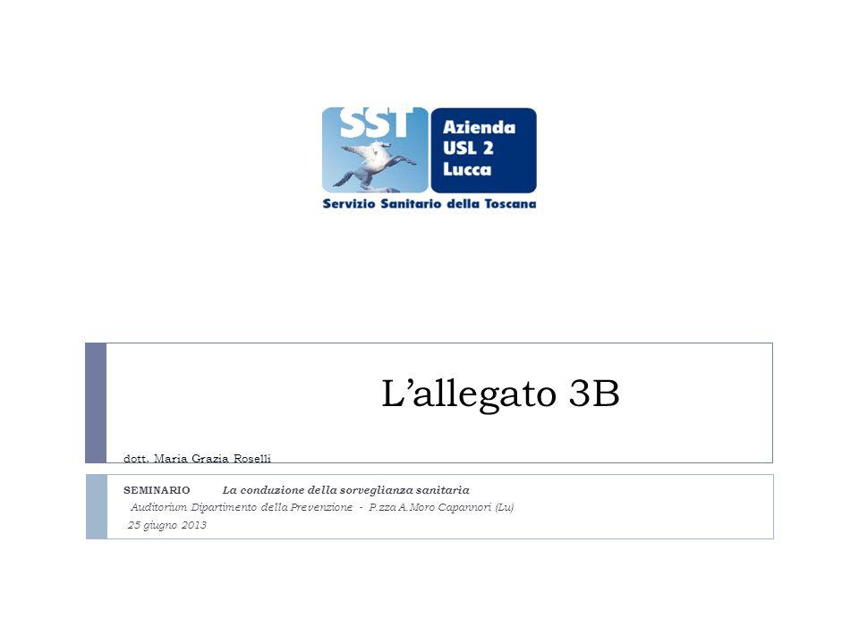 Lallegato 3B dott. Maria Grazia Roselli SEMINARIO La conduzione della sorveglianza sanitaria Auditorium Dipartimento della Prevenzione - P.zza A.Moro