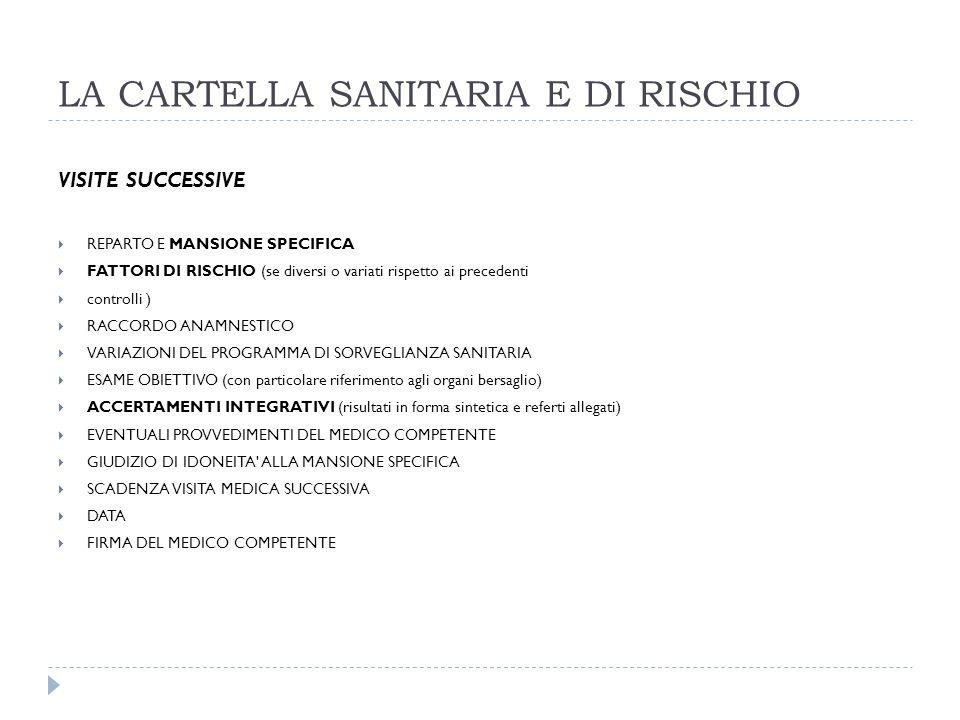 LA CARTELLA SANITARIA E DI RISCHIO VISITE SUCCESSIVE REPARTO E MANSIONE SPECIFICA FATTORI DI RISCHIO (se diversi o variati rispetto ai precedenti cont