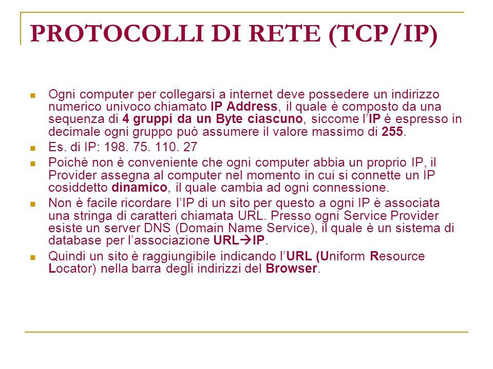 PROTOCOLLI DI RETE (TCP/IP) Ogni computer per collegarsi a internet deve possedere un indirizzo numerico univoco chiamato IP Address, il quale è compo