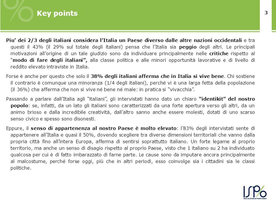 3 Key points Piu dei 2/3 degli italiani considera lItalia un Paese diverso dalle altre nazioni occidentali e tra questi il 43% (il 29% sul totale degli italiani) pensa che lItalia sia peggio degli altri.