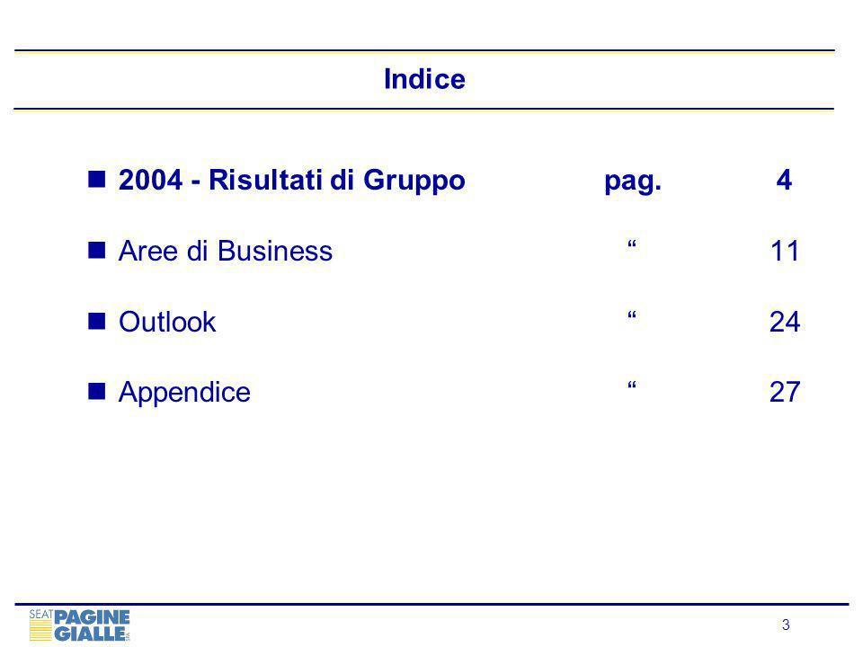 4 2004 Financials di Gruppo: Crescita dellEbitda Superiore alla Guidance (1) Like for like al netto delle attività di Business Info cedute Guidance fornita dopo i risultati del 1H04: +1.2%