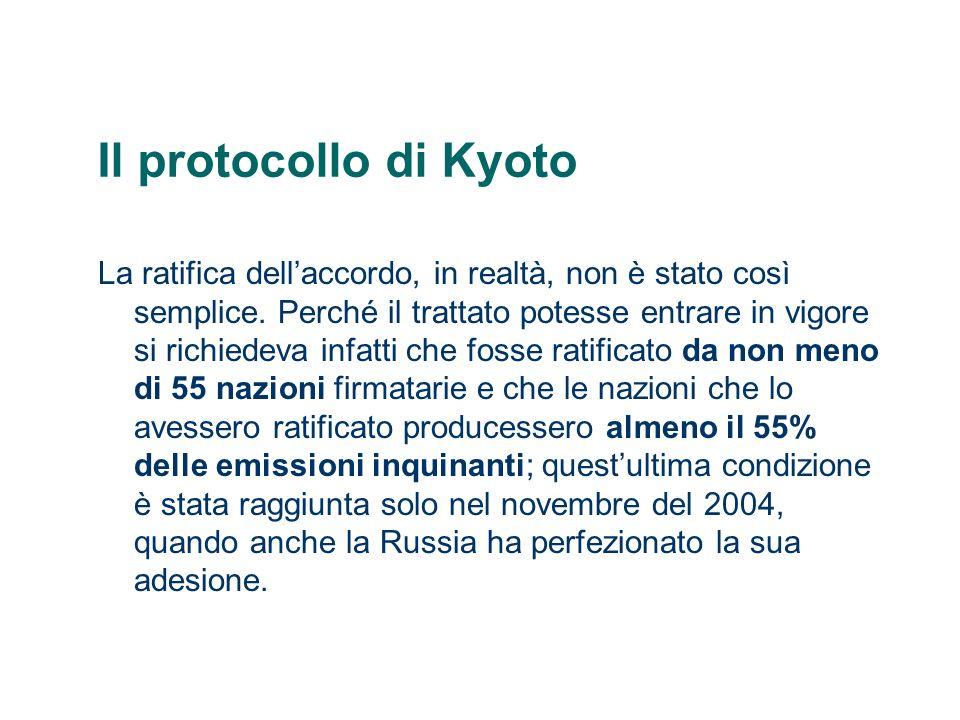 Il protocollo di Kyoto Latmosfera contiene 3 milioni di megatonnellate (Mt) di CO 2, mentre il mondo immette 6.000 Mt di CO 2, di cui 3.000 dai paesi industrializzati e 3.000 da quelli in via di sviluppo.