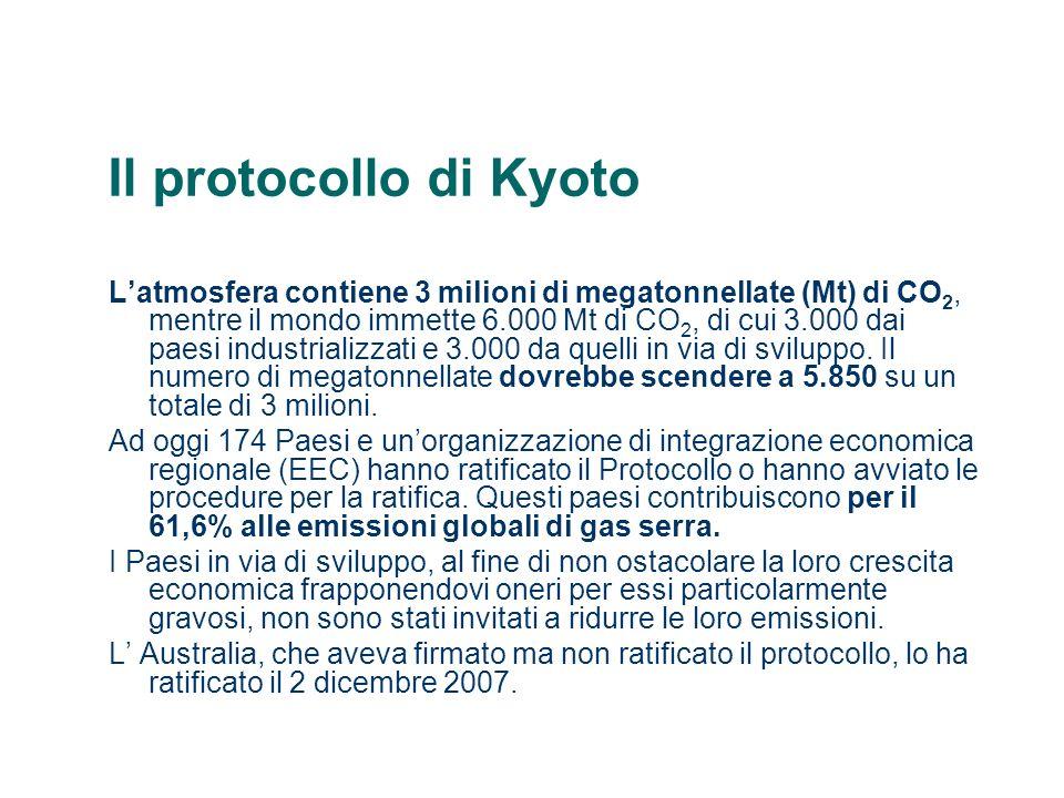 Il protocollo di Kyoto Perché questi numeri possano essere raggiunti, il Protocollo sancisce che i Paesi aderenti possano utilizzare alcuni meccanismi flessibili che servono per acquisire crediti per le emissioni.