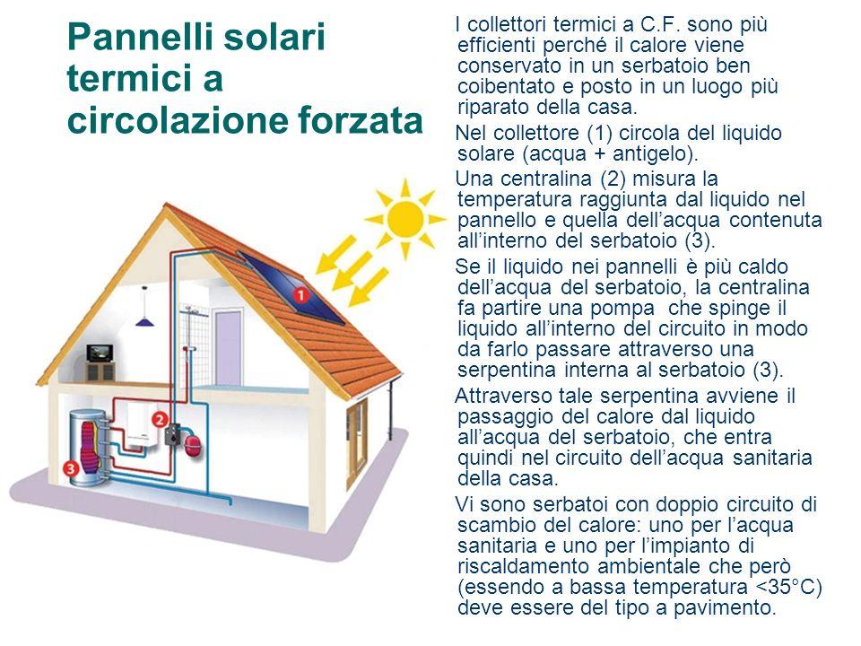 Pannelli solari termici a circolazione forzata I collettori termici a C.F. sono più efficienti perché il calore viene conservato in un serbatoio ben c
