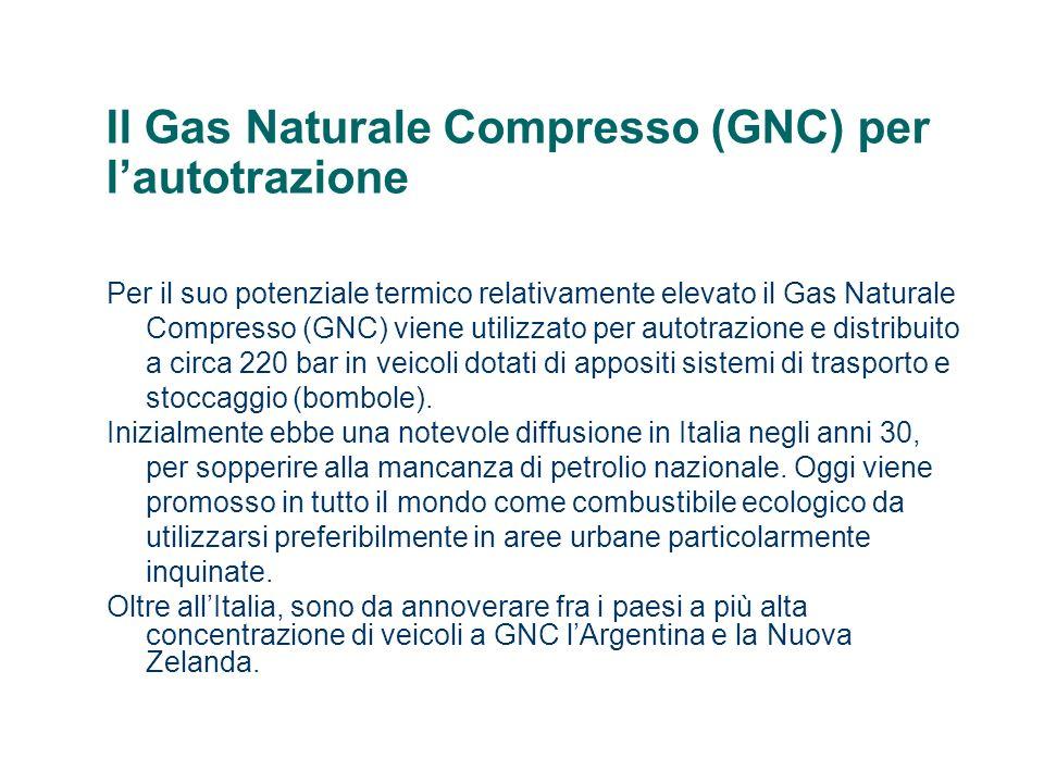Il Gas Naturale Compresso (GNC) per lautotrazione Per il suo potenziale termico relativamente elevato il Gas Naturale Compresso (GNC) viene utilizzato per autotrazione e distribuito a circa 220 bar in veicoli dotati di appositi sistemi di trasporto e stoccaggio (bombole).