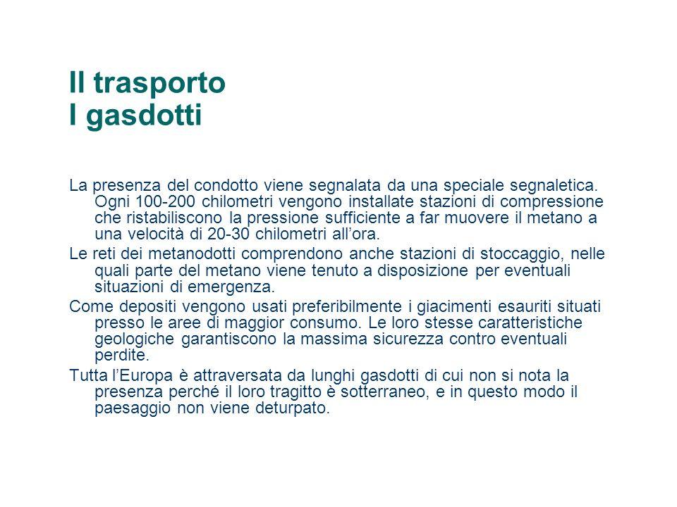 Il trasporto I gasdotti La presenza del condotto viene segnalata da una speciale segnaletica.