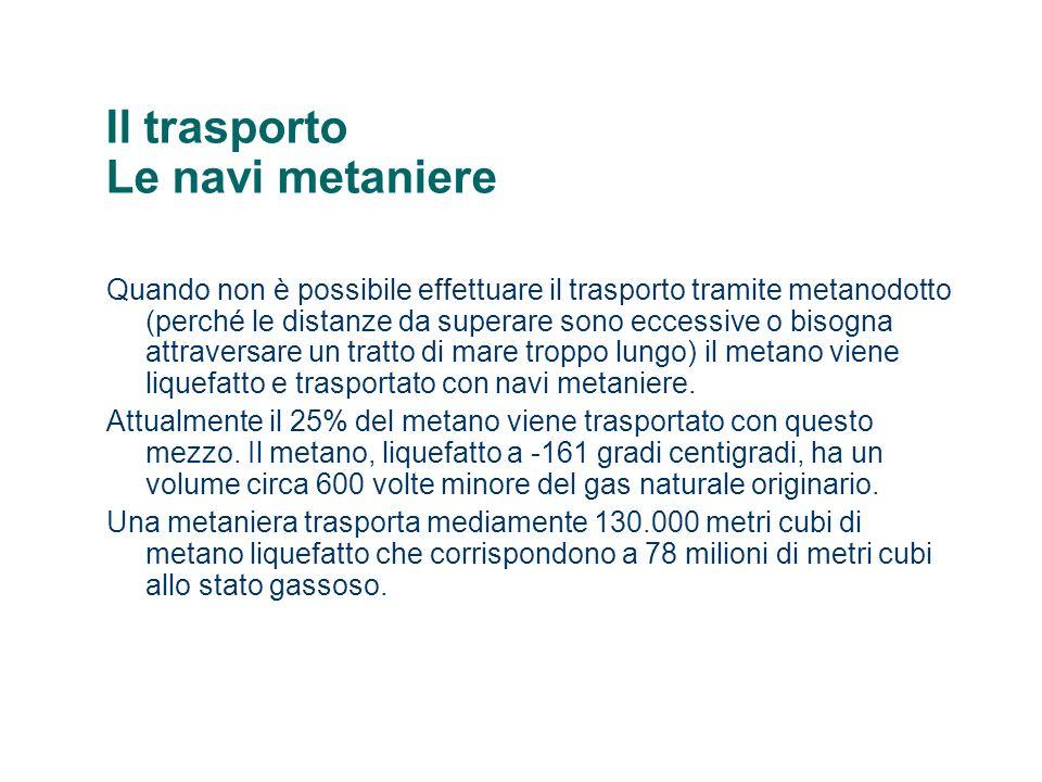 Il trasporto Le navi metaniere Quando non è possibile effettuare il trasporto tramite metanodotto (perché le distanze da superare sono eccessive o bisogna attraversare un tratto di mare troppo lungo) il metano viene liquefatto e trasportato con navi metaniere.