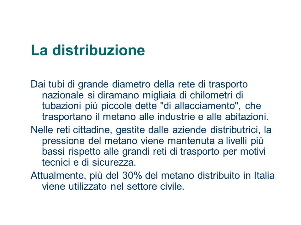 La distribuzione Dai tubi di grande diametro della rete di trasporto nazionale si diramano migliaia di chilometri di tubazioni più piccole dette
