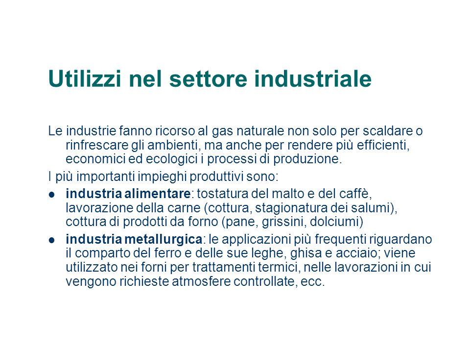 Utilizzi nel settore industriale Le industrie fanno ricorso al gas naturale non solo per scaldare o rinfrescare gli ambienti, ma anche per rendere più efficienti, economici ed ecologici i processi di produzione.