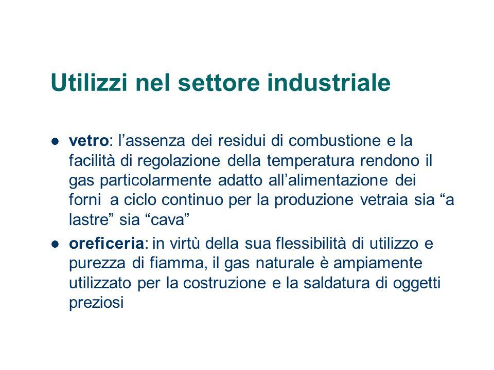 Utilizzi nel settore industriale vetro: lassenza dei residui di combustione e la facilità di regolazione della temperatura rendono il gas particolarme