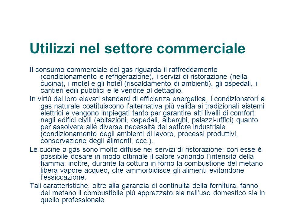 Utilizzi nel settore commerciale Il consumo commerciale del gas riguarda il raffreddamento (condizionamento e refrigerazione), i servizi di ristorazione (nella cucina), i motel e gli hotel (riscaldamento di ambienti), gli ospedali, i cantieri edili pubblici e le vendite al dettaglio.