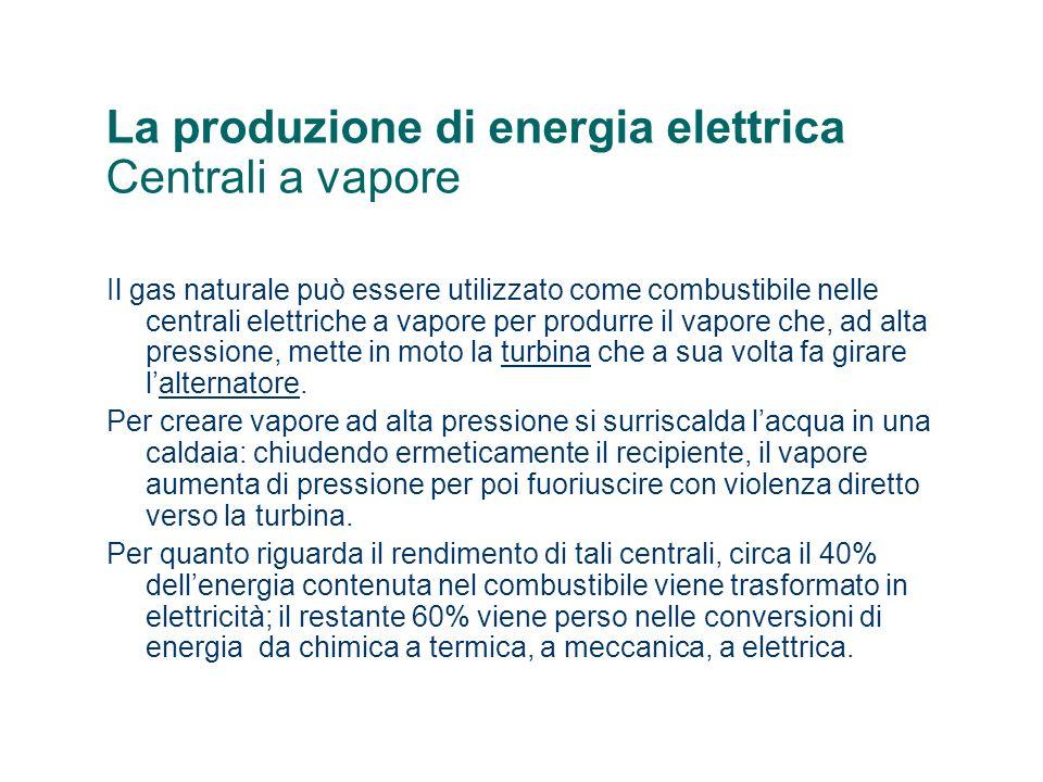 La produzione di energia elettrica Centrali a vapore Il gas naturale può essere utilizzato come combustibile nelle centrali elettriche a vapore per pr