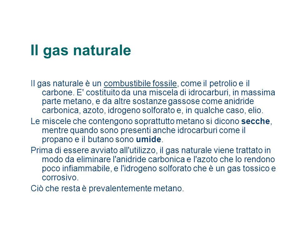 Il gas naturale Il gas naturale è un combustibile fossile, come il petrolio e il carbone. E' costituito da una miscela di idrocarburi, in massima part
