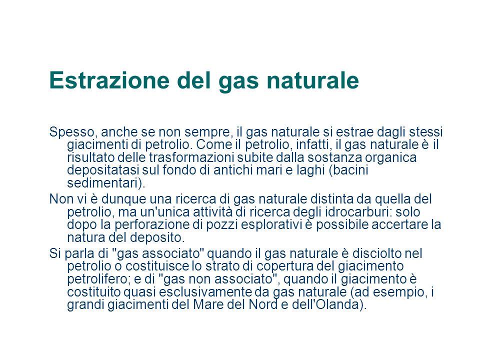 Estrazione del gas naturale Spesso, anche se non sempre, il gas naturale si estrae dagli stessi giacimenti di petrolio. Come il petrolio, infatti, il