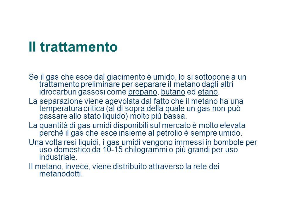 Il trattamento Se il gas che esce dal giacimento è umido, lo si sottopone a un trattamento preliminare per separare il metano dagli altri idrocarburi