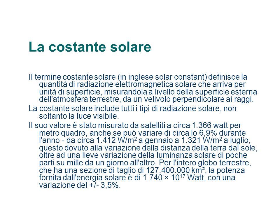 La costante solare Il termine costante solare (in inglese solar constant) definisce la quantità di radiazione elettromagnetica solare che arriva per u