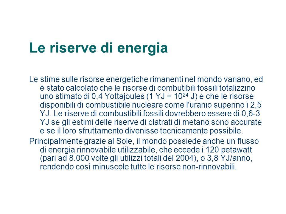 Le riserve di energia Le stime sulle risorse energetiche rimanenti nel mondo variano, ed è stato calcolato che le risorse di combutibili fossili total