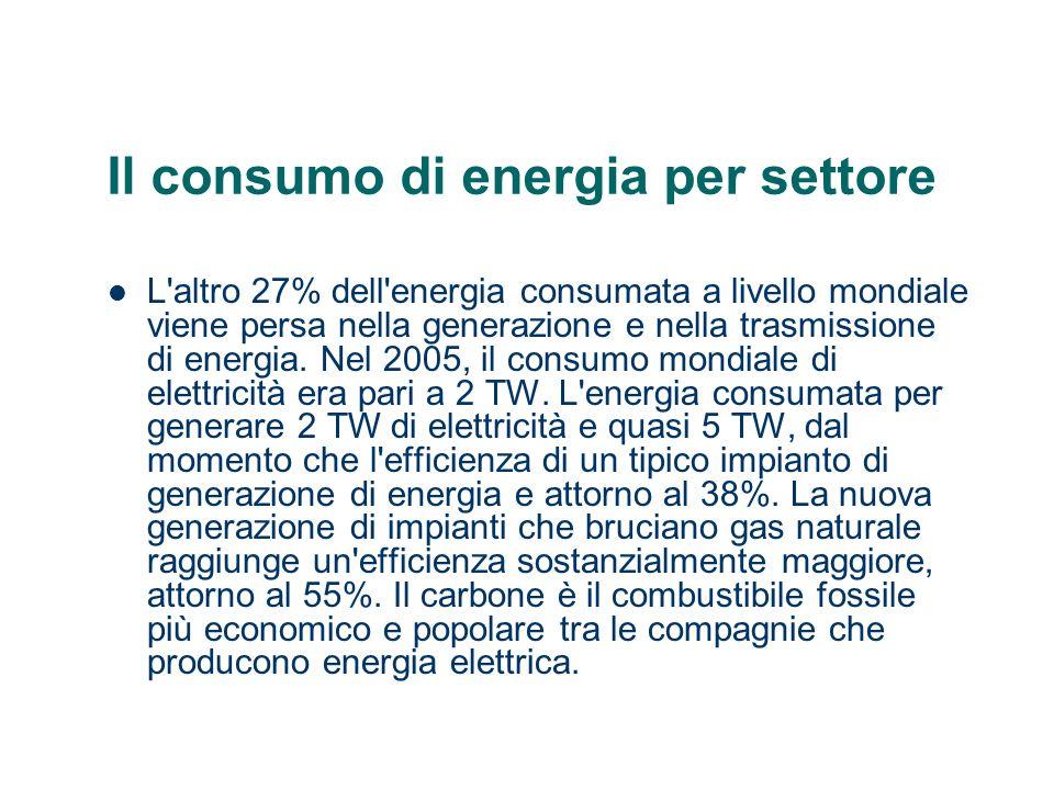 Il consumo di energia per settore L'altro 27% dell'energia consumata a livello mondiale viene persa nella generazione e nella trasmissione di energia.