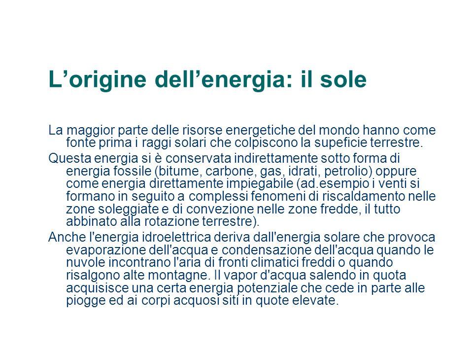 Lorigine dellenergia: il sole La maggior parte delle risorse energetiche del mondo hanno come fonte prima i raggi solari che colpiscono la supeficie t