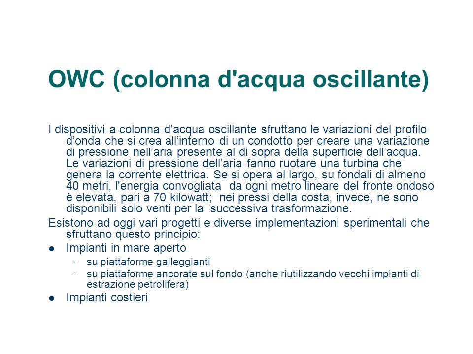 OWC (colonna d'acqua oscillante) I dispositivi a colonna dacqua oscillante sfruttano le variazioni del profilo donda che si crea allinterno di un cond