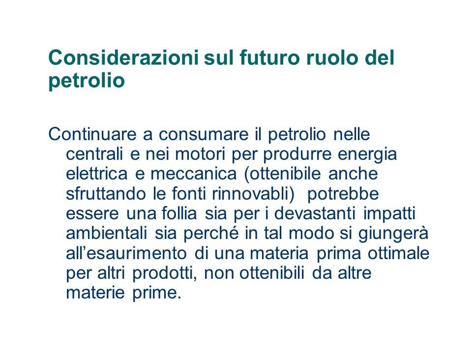 Considerazioni sul futuro ruolo del petrolio Continuare a consumare il petrolio nelle centrali e nei motori per produrre energia elettrica e meccanica
