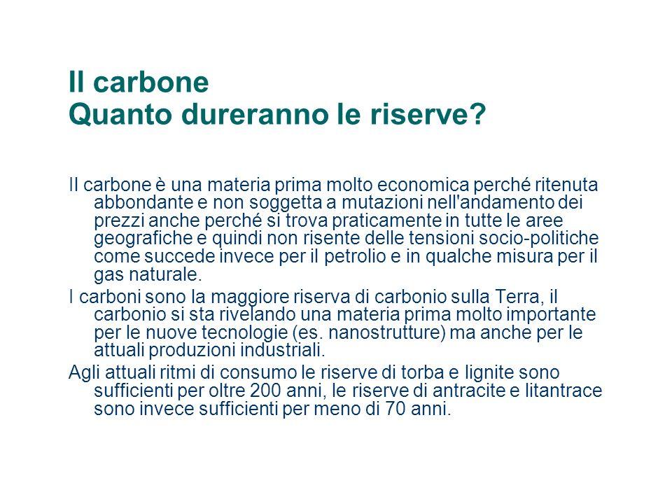 Il carbone Quanto dureranno le riserve? Il carbone è una materia prima molto economica perché ritenuta abbondante e non soggetta a mutazioni nell'anda