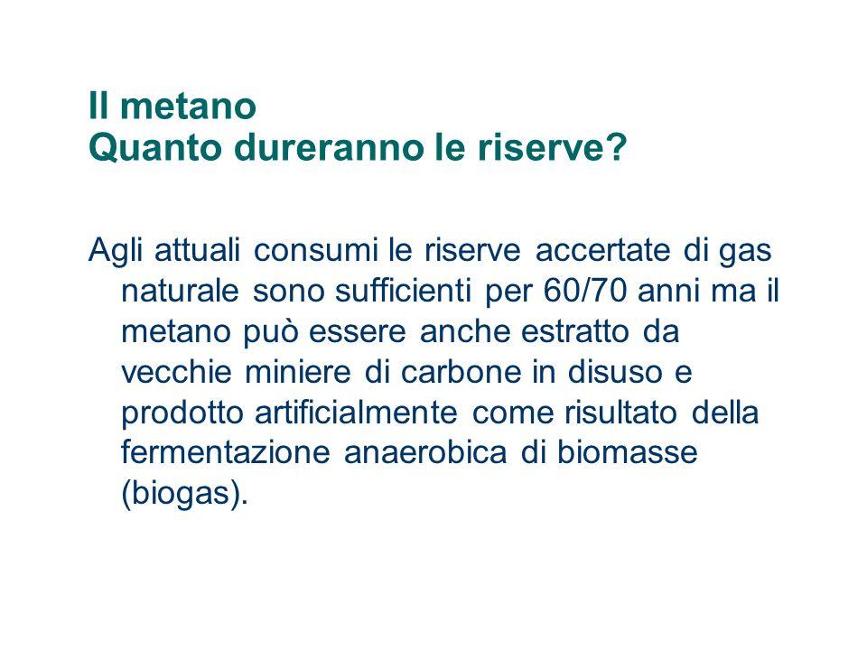 Il metano Quanto dureranno le riserve? Agli attuali consumi le riserve accertate di gas naturale sono sufficienti per 60/70 anni ma il metano può esse