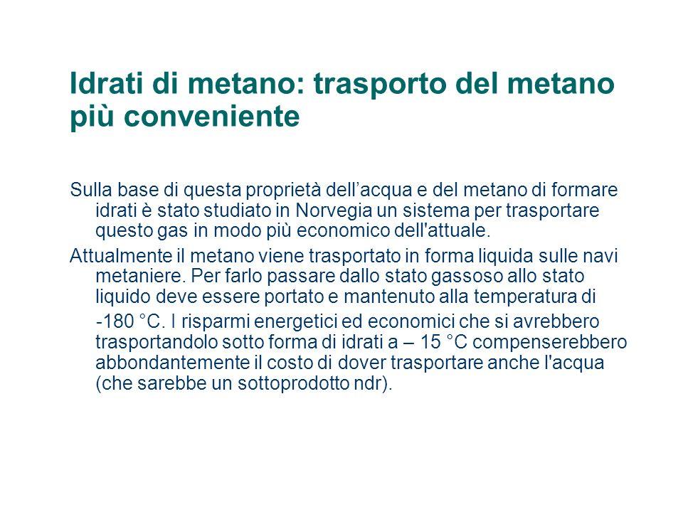 Idrati di metano: trasporto del metano più conveniente Sulla base di questa proprietà dellacqua e del metano di formare idrati è stato studiato in Nor