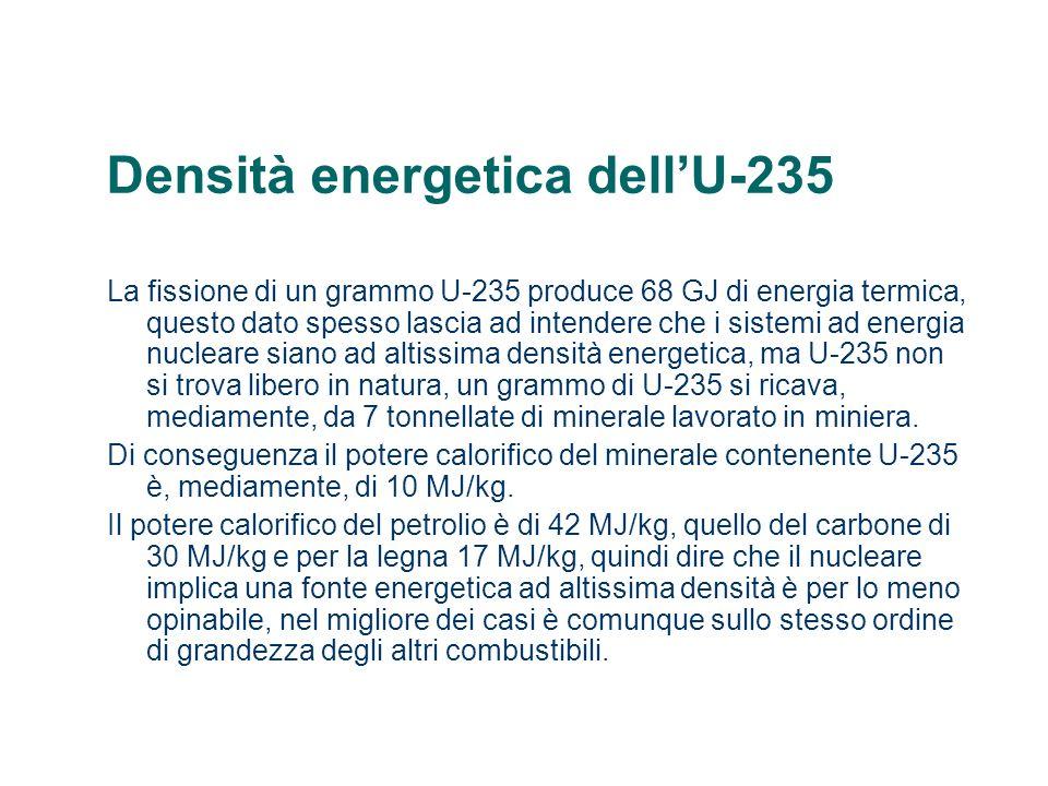 Densità energetica dellU-235 La fissione di un grammo U-235 produce 68 GJ di energia termica, questo dato spesso lascia ad intendere che i sistemi ad