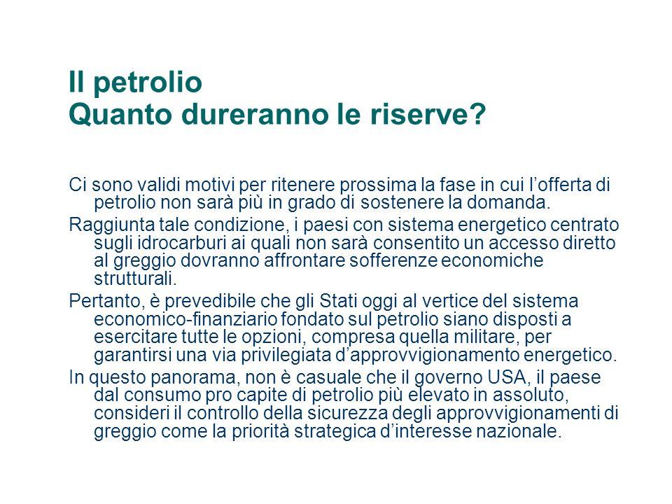 Il petrolio Quanto dureranno le riserve? Ci sono validi motivi per ritenere prossima la fase in cui lofferta di petrolio non sarà più in grado di sost