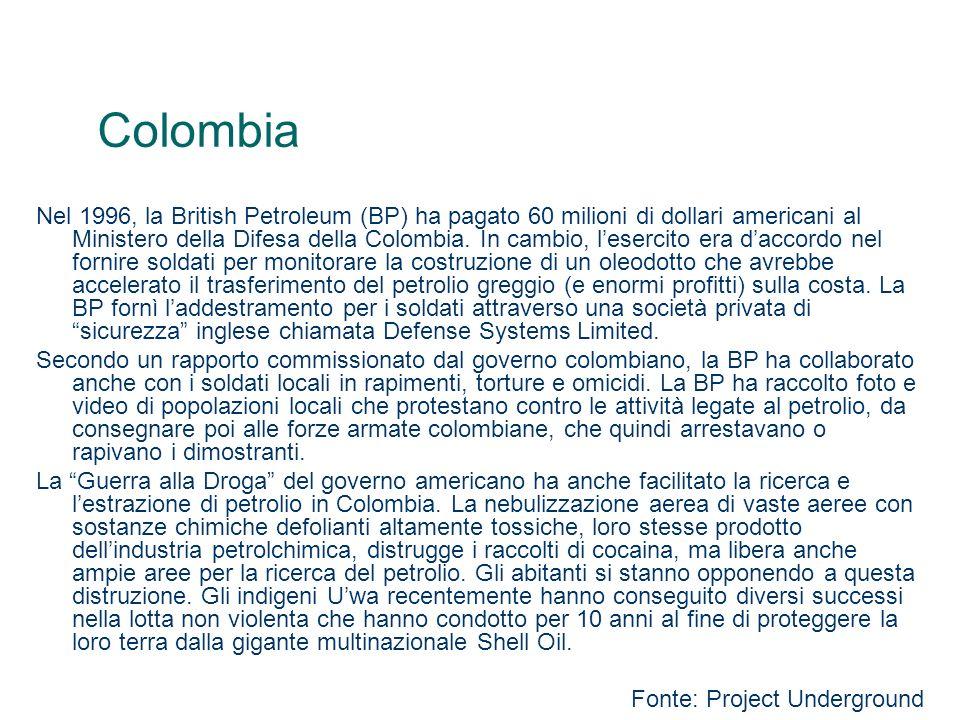 Colombia Nel 1996, la British Petroleum (BP) ha pagato 60 milioni di dollari americani al Ministero della Difesa della Colombia. In cambio, lesercito