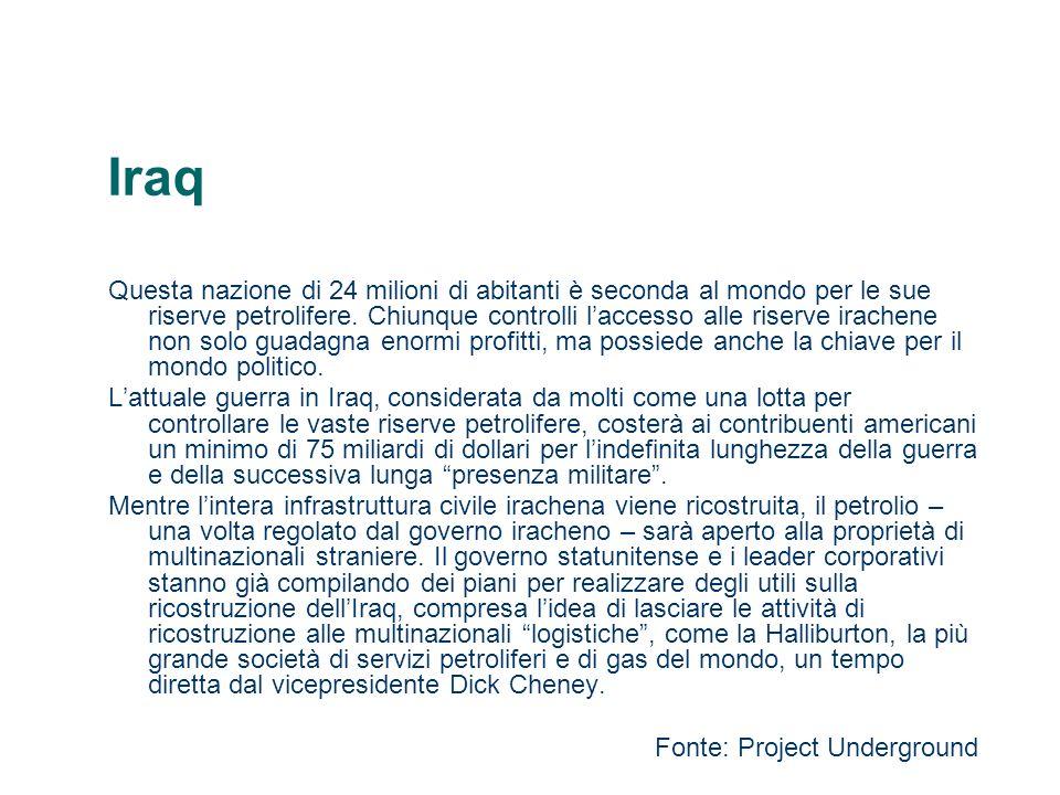 Iraq Questa nazione di 24 milioni di abitanti è seconda al mondo per le sue riserve petrolifere. Chiunque controlli laccesso alle riserve irachene non