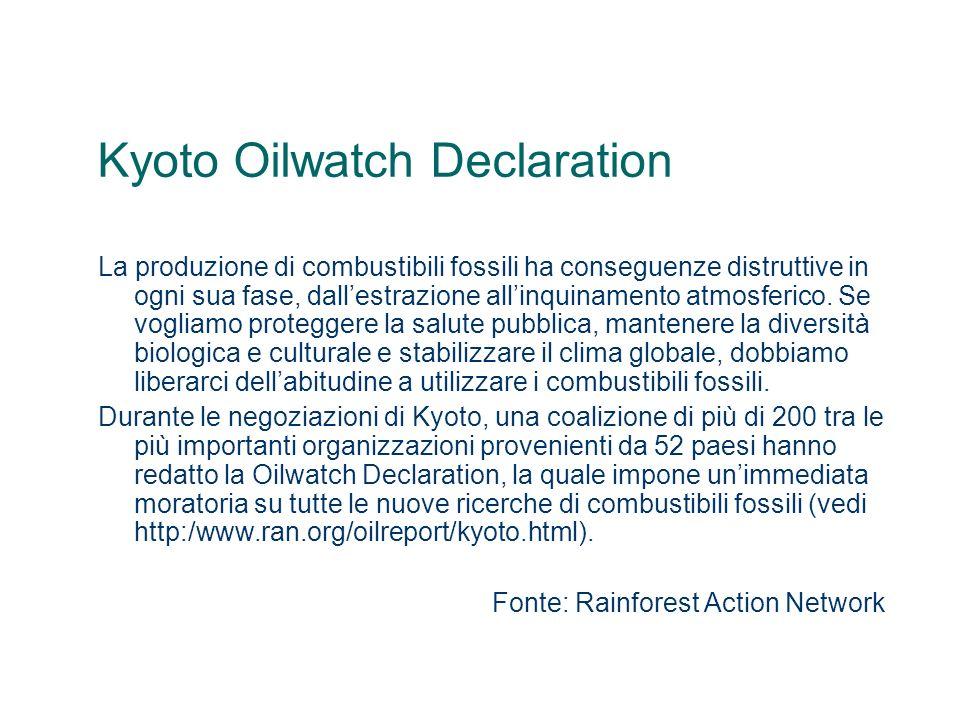 Kyoto Oilwatch Declaration La produzione di combustibili fossili ha conseguenze distruttive in ogni sua fase, dallestrazione allinquinamento atmosferi