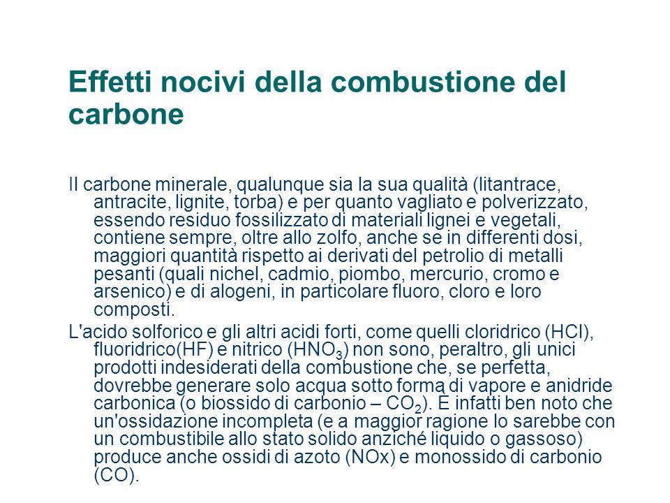 Effetti nocivi della combustione del carbone Il carbone minerale, qualunque sia la sua qualità (litantrace, antracite, lignite, torba) e per quanto va