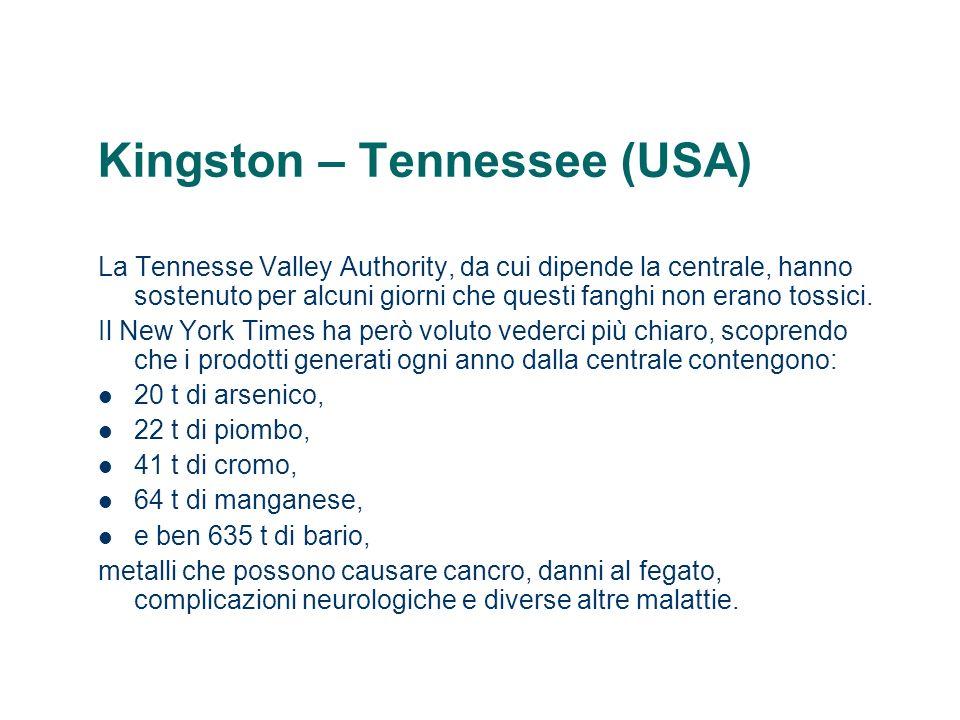 Kingston – Tennessee (USA) La Tennesse Valley Authority, da cui dipende la centrale, hanno sostenuto per alcuni giorni che questi fanghi non erano tos