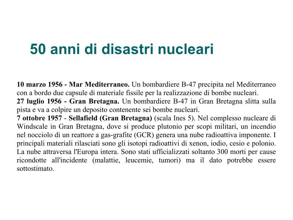 50 anni di disastri nucleari
