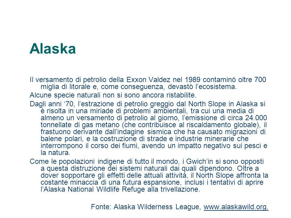 Alaska Il versamento di petrolio della Exxon Valdez nel 1989 contaminò oltre 700 miglia di litorale e, come conseguenza, devastò lecosistema. Alcune s