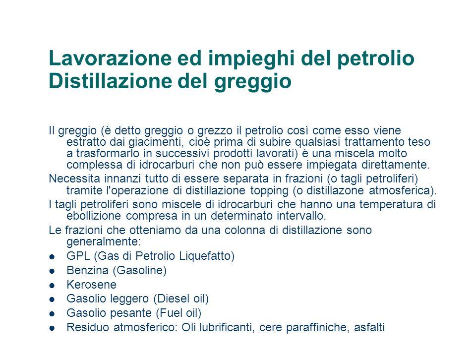 Lavorazione ed impieghi del petrolio Distillazione del greggio Il greggio (è detto greggio o grezzo il petrolio così come esso viene estratto dai giac