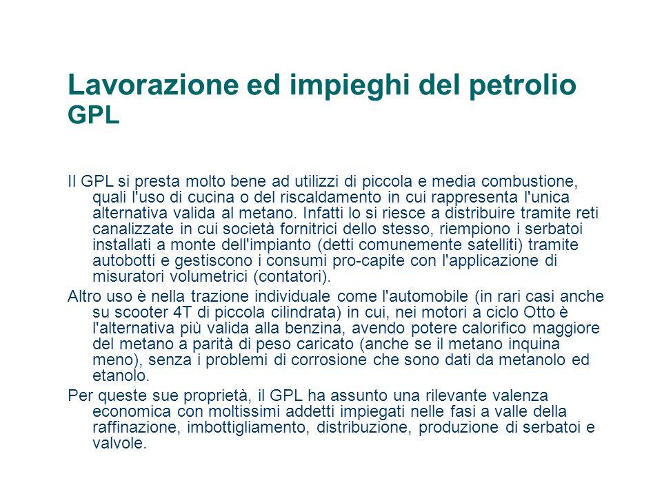 Lavorazione ed impieghi del petrolio GPL Il GPL si presta molto bene ad utilizzi di piccola e media combustione, quali l'uso di cucina o del riscaldam