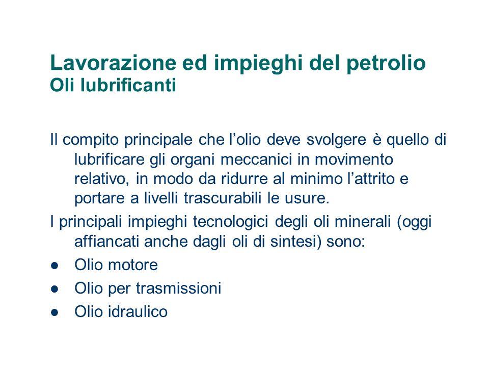 Lavorazione ed impieghi del petrolio Oli lubrificanti Il compito principale che lolio deve svolgere è quello di lubrificare gli organi meccanici in mo